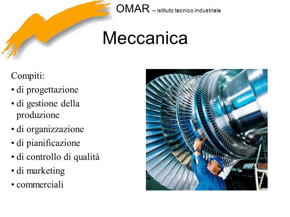 OMAR – istituto tecnico industriale Meccanica Compiti: di progettazione di gestione della produzione di organizzazione di pianificazione di controllo di qualità di marketing commerciali