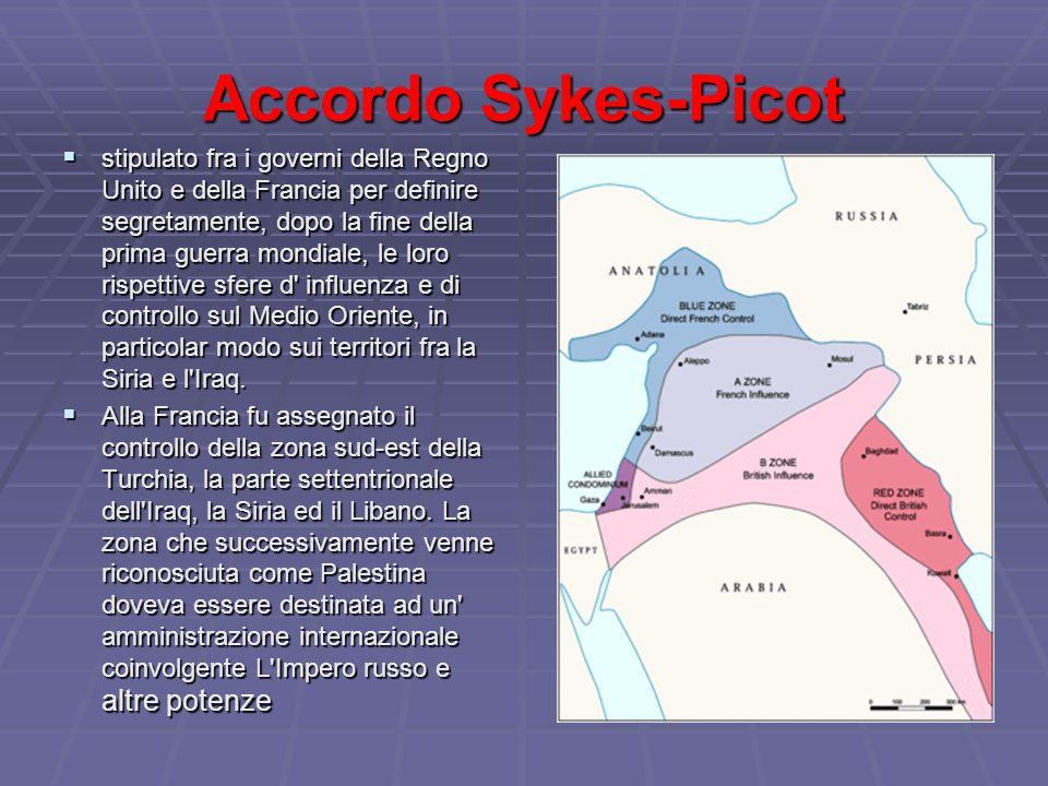 Accordo Sykes-Picot  stipulato fra i governi della Regno Unito e della Francia per definire segretamente, dopo la fine della prima guerra mondiale, le loro rispettive sfere d influenza e di controllo sul Medio Oriente, in particolar modo sui territori fra la Siria e l Iraq.