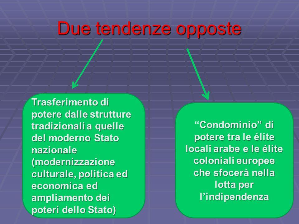 Due tendenze opposte Trasferimento di potere dalle strutture tradizionali a quelle del moderno Stato nazionale (modernizzazione culturale, politica ed