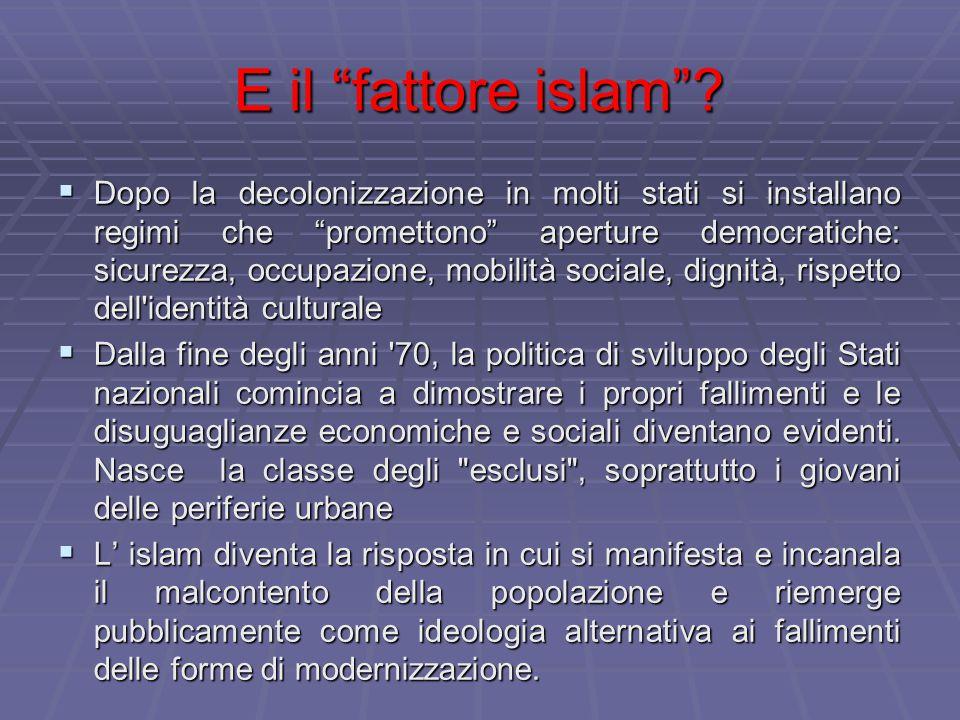 """E il """"fattore islam""""?  Dopo la decolonizzazione in molti stati si installano regimi che """"promettono"""" aperture democratiche: sicurezza, occupazione, m"""