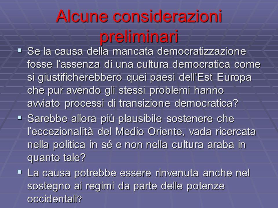 Alcune considerazioni preliminari  Se la causa della mancata democratizzazione fosse l'assenza di una cultura democratica come si giustificherebbero