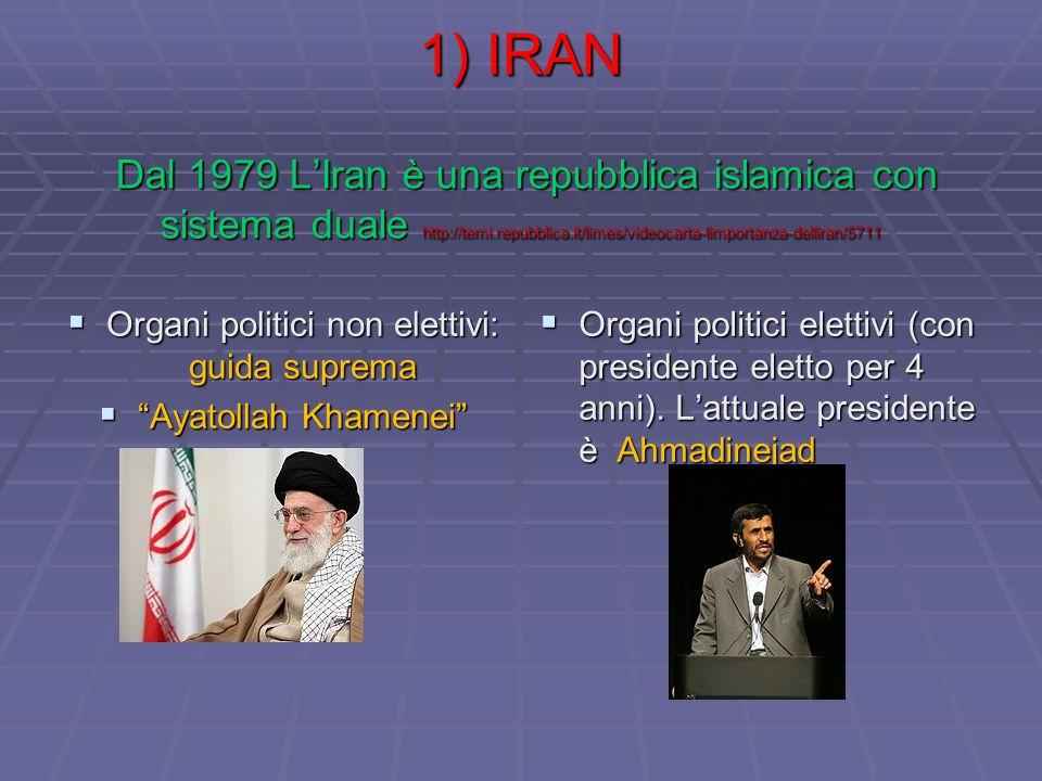 1) IRAN Dal 1979 L'Iran è una repubblica islamica con sistema duale http://temi.repubblica.it/limes/videocarta-limportanza-delliran/5711  Organi politici non elettivi: guida suprema  Ayatollah Khamenei  Organi politici elettivi (con presidente eletto per 4 anni).