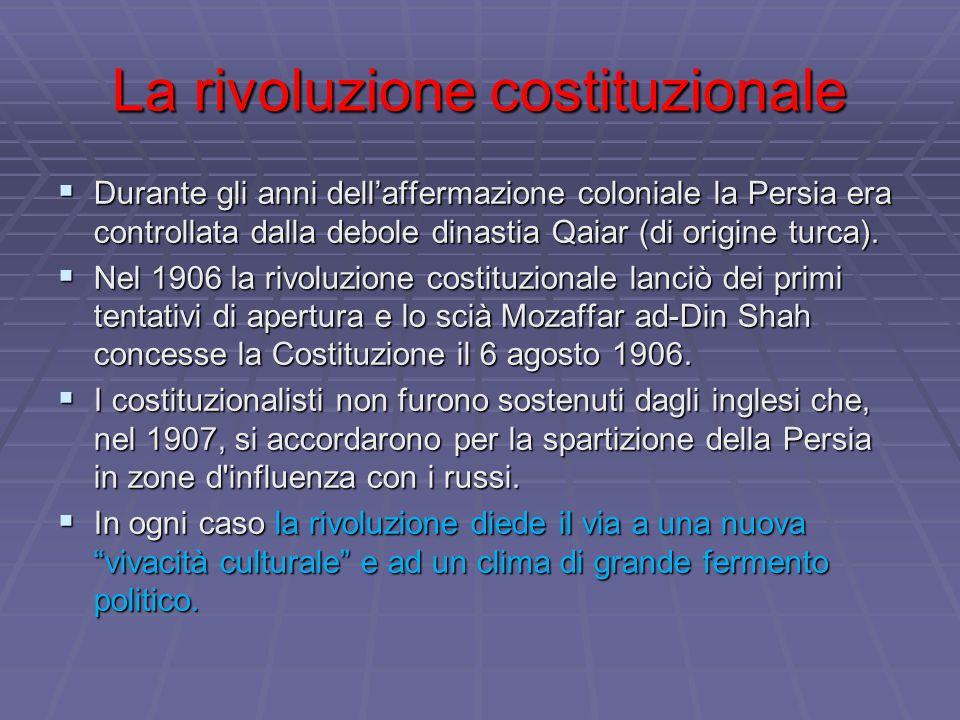 La rivoluzione costituzionale  Durante gli anni dell'affermazione coloniale la Persia era controllata dalla debole dinastia Qaiar (di origine turca).
