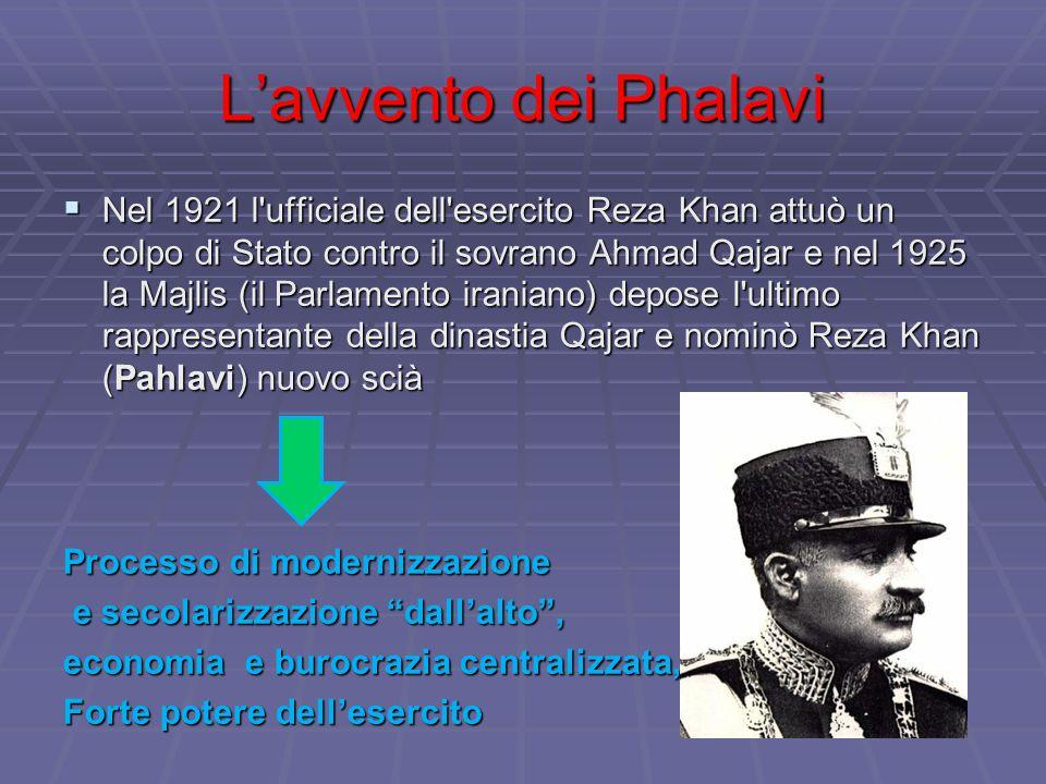 L'avvento dei Phalavi  Nel 1921 l'ufficiale dell'esercito Reza Khan attuò un colpo di Stato contro il sovrano Ahmad Qajar e nel 1925 la Majlis (il Pa