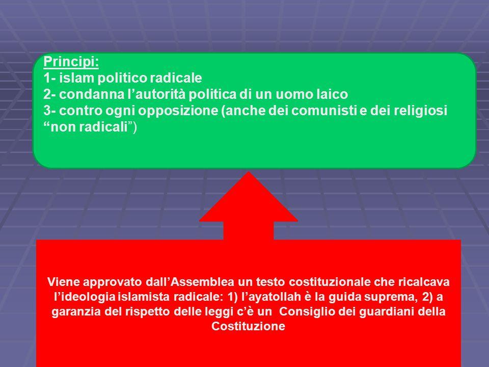 Principi: 1- islam politico radicale 2- condanna l'autorità politica di un uomo laico 3- contro ogni opposizione (anche dei comunisti e dei religiosi