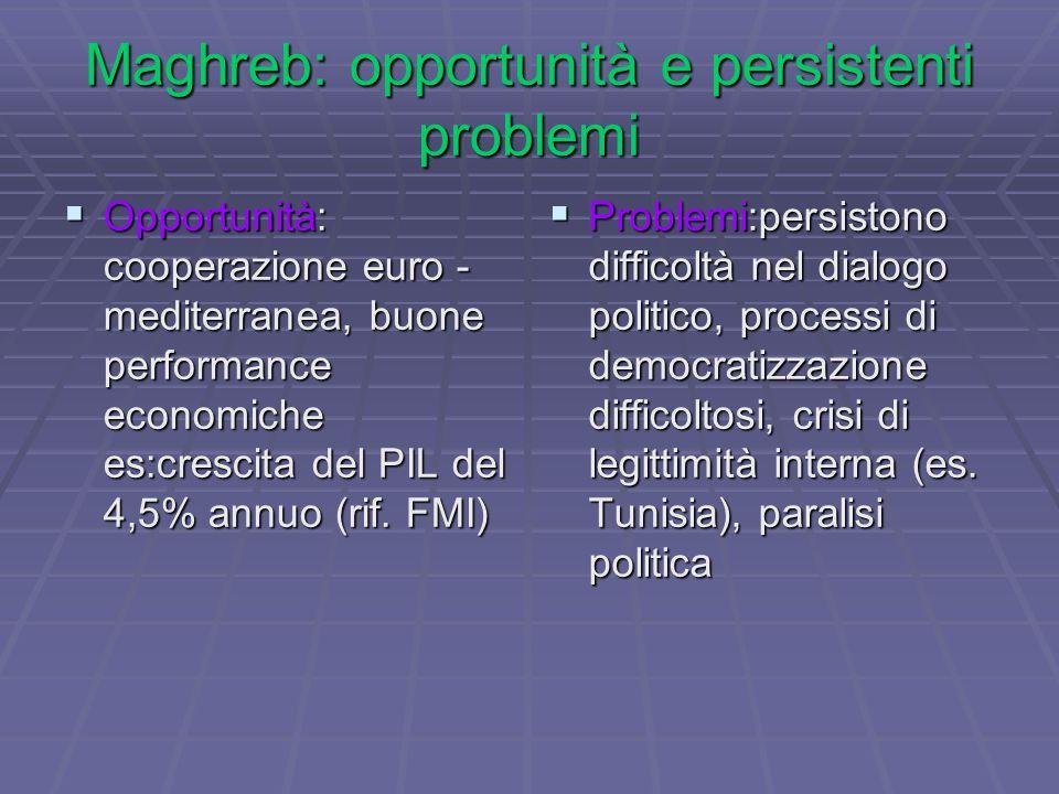 Maghreb: opportunità e persistenti problemi  Opportunità: cooperazione euro - mediterranea, buone performance economiche es:crescita del PIL del 4,5% annuo (rif.