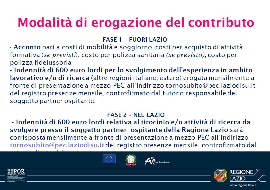 Modalità di erogazione del contributo FASE 1 – FUORI LAZIO - Acconto pari a costi di mobilità e soggiorno, costi per acquisto di attività formativa (s