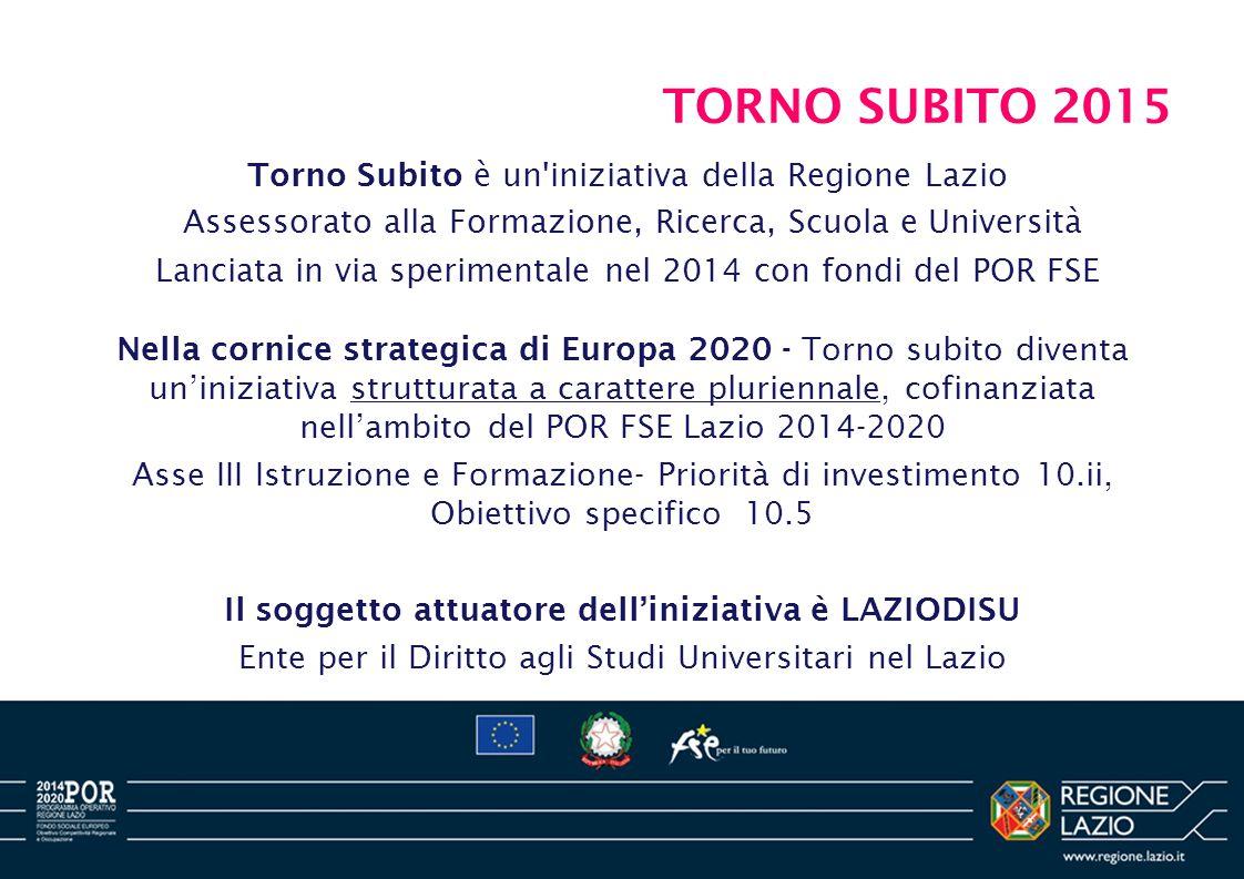 TORNO SUBITO 2015 Nella cornice strategica di Europa 2020 - Torno subito diventa un'iniziativa strutturata a carattere pluriennale, cofinanziata nell'