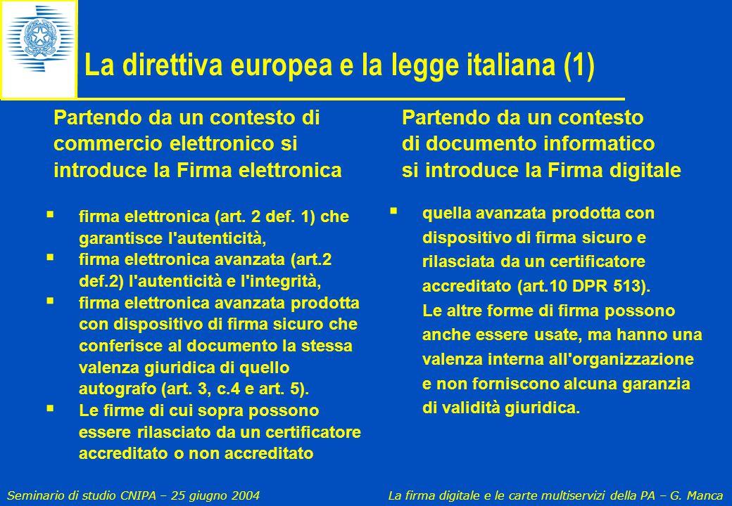 Seminario di studio CNIPA – 25 giugno 2004 La firma digitale e le carte multiservizi della PA – G. Manca La direttiva europea e la legge italiana (1)