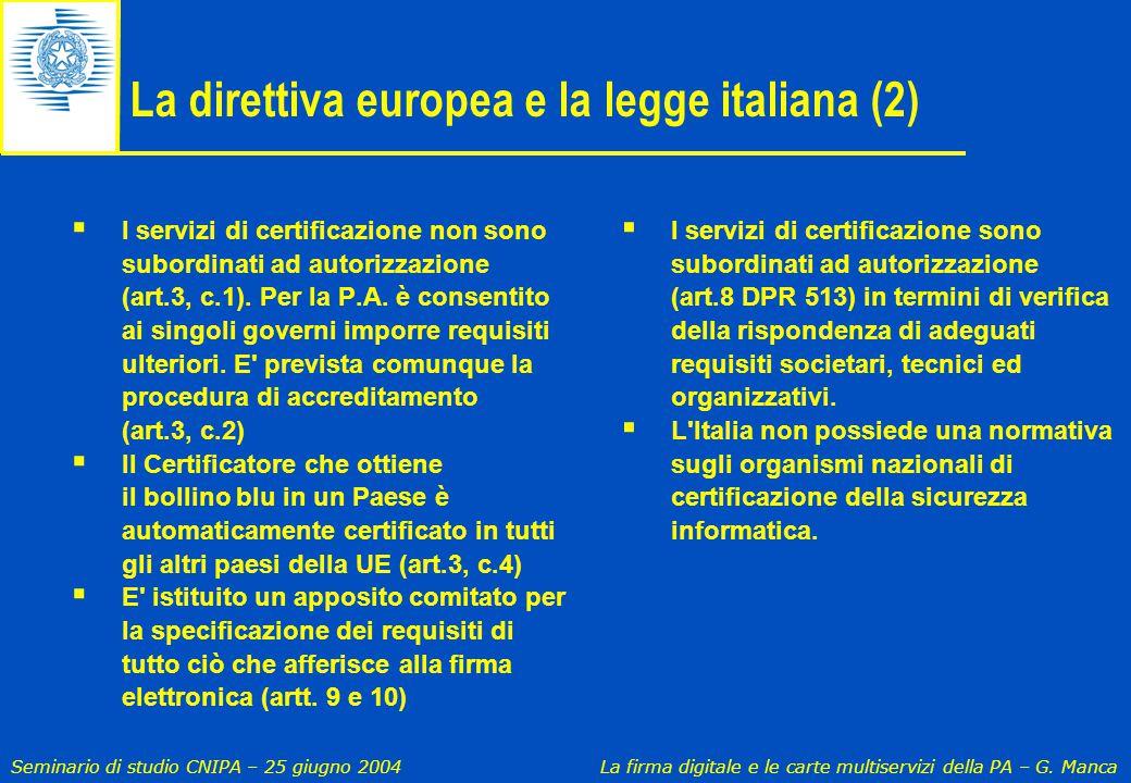 Seminario di studio CNIPA – 25 giugno 2004 La firma digitale e le carte multiservizi della PA – G. Manca La direttiva europea e la legge italiana (2)