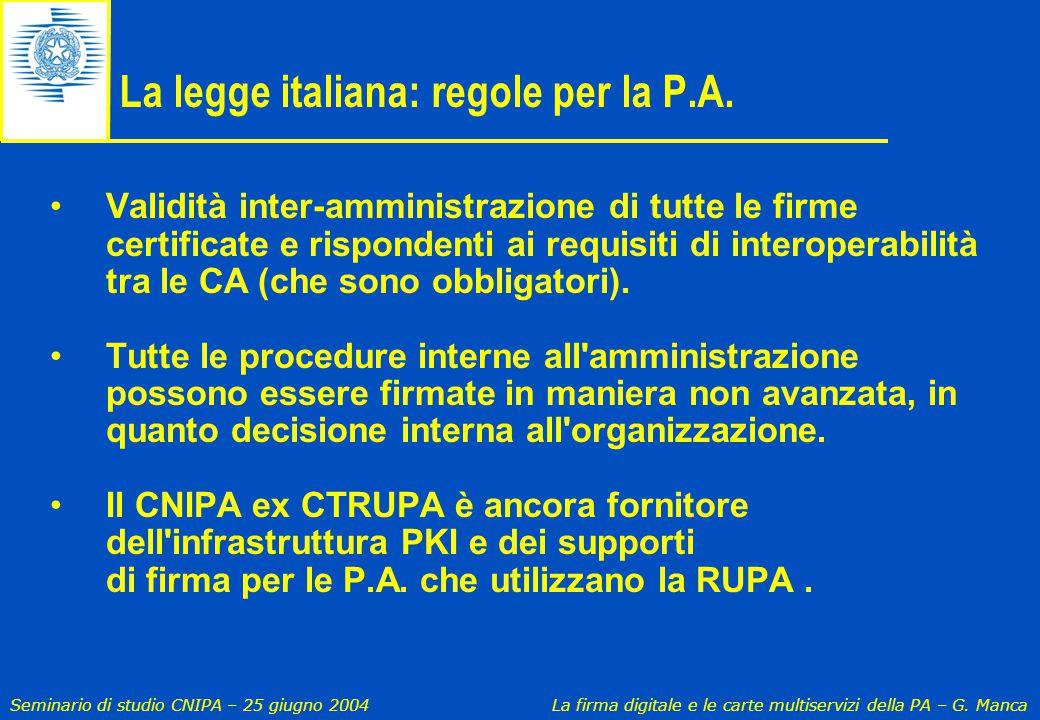Seminario di studio CNIPA – 25 giugno 2004 La firma digitale e le carte multiservizi della PA – G. Manca La legge italiana: regole per la P.A. Validit