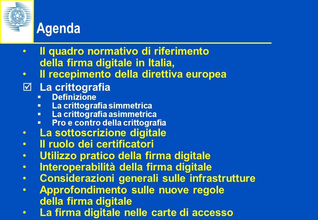 Il quadro normativo di riferimento della firma digitale in Italia, Il recepimento della direttiva europea  La crittografia  Definizione  La crittog