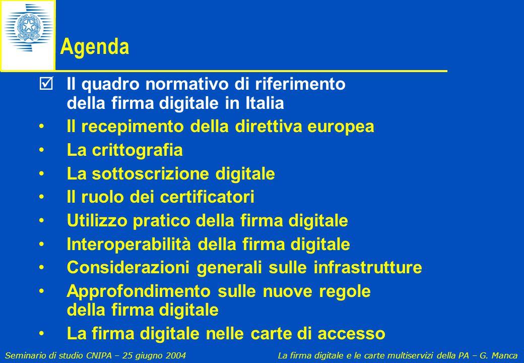 Seminario di studio CNIPA – 25 giugno 2004 La firma digitale e le carte multiservizi della PA – G. Manca  Il quadro normativo di riferimento della fi