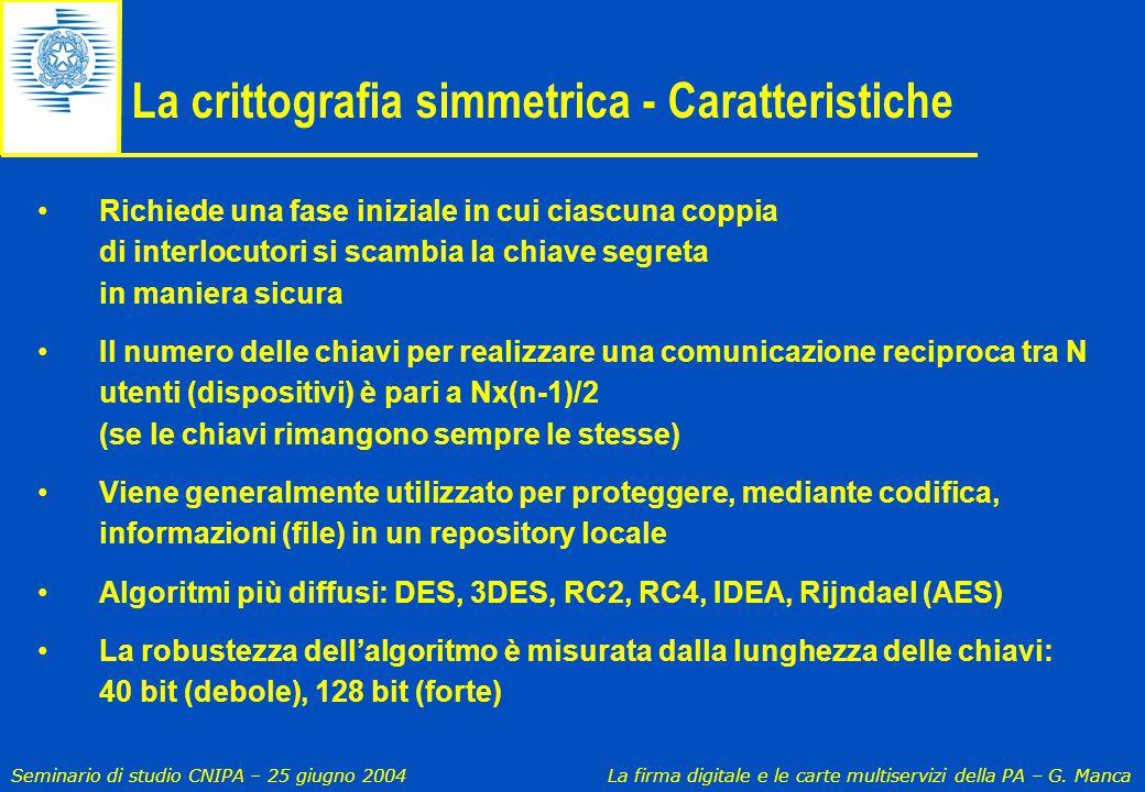 Seminario di studio CNIPA – 25 giugno 2004 La firma digitale e le carte multiservizi della PA – G. Manca La crittografia simmetrica - Caratteristiche