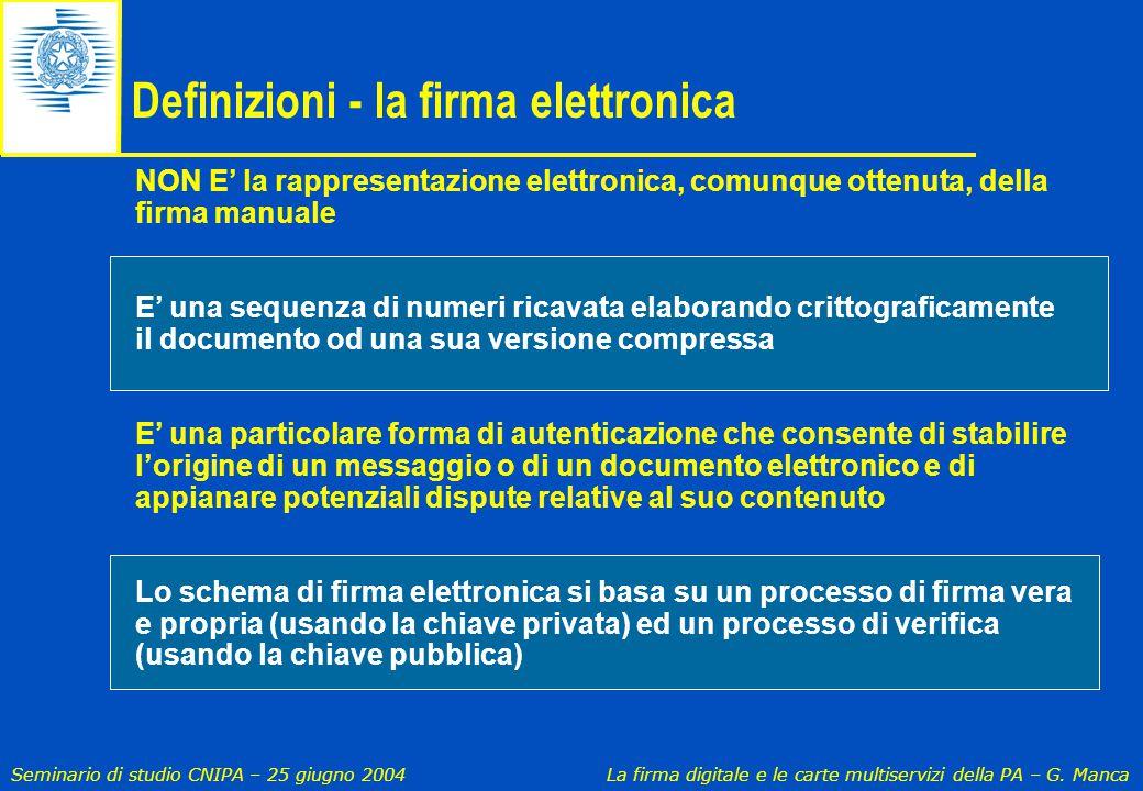 Seminario di studio CNIPA – 25 giugno 2004 La firma digitale e le carte multiservizi della PA – G. Manca NON E' la rappresentazione elettronica, comun