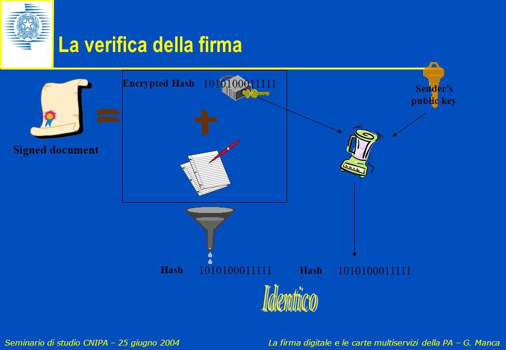 Seminario di studio CNIPA – 25 giugno 2004 La firma digitale e le carte multiservizi della PA – G. Manca La verifica della firma 1010100011111 Hash Se
