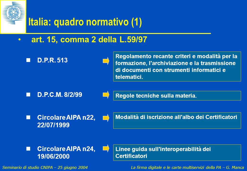 Seminario di studio CNIPA – 25 giugno 2004 La firma digitale e le carte multiservizi della PA – G. Manca D.P.R. 513 D.P.C.M. 8/2/99 Circolare AIPA n22