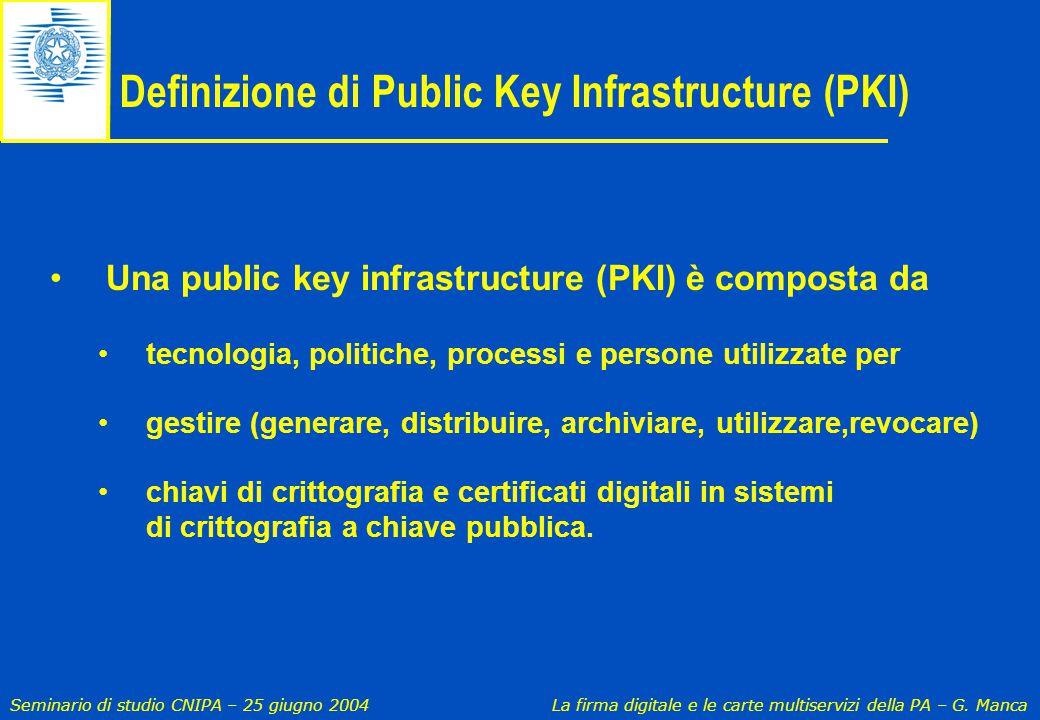 Seminario di studio CNIPA – 25 giugno 2004 La firma digitale e le carte multiservizi della PA – G. Manca Definizione di Public Key Infrastructure (PKI