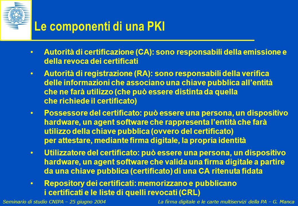 Seminario di studio CNIPA – 25 giugno 2004 La firma digitale e le carte multiservizi della PA – G. Manca Le componenti di una PKI Autorità di certific