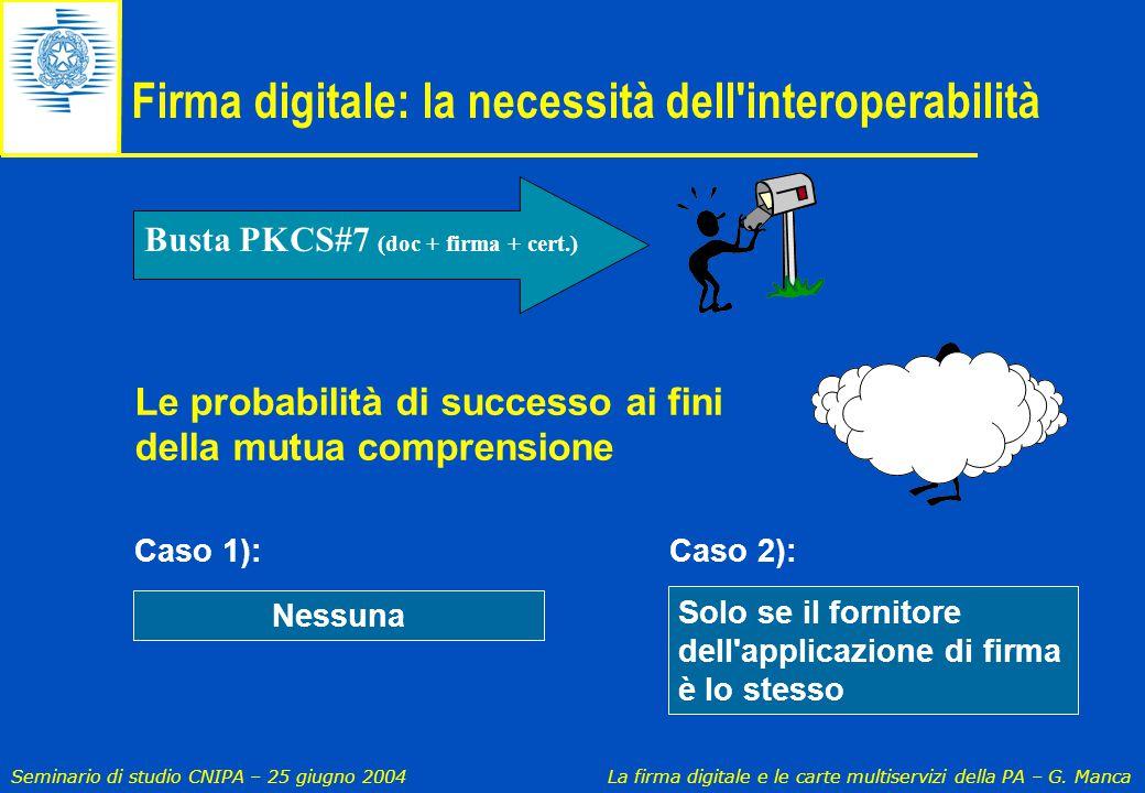 Seminario di studio CNIPA – 25 giugno 2004 La firma digitale e le carte multiservizi della PA – G. Manca Le probabilità di successo ai fini della mutu