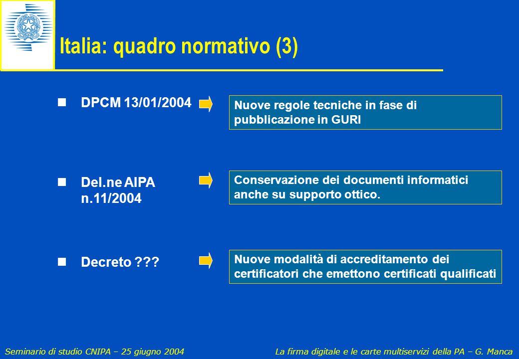 Seminario di studio CNIPA – 25 giugno 2004 La firma digitale e le carte multiservizi della PA – G. Manca DPCM 13/01/2004 Del.ne AIPA n.11/2004 Decreto