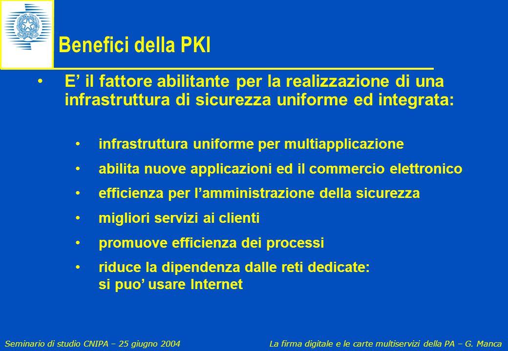 Seminario di studio CNIPA – 25 giugno 2004 La firma digitale e le carte multiservizi della PA – G. Manca Benefici della PKI E' il fattore abilitante p