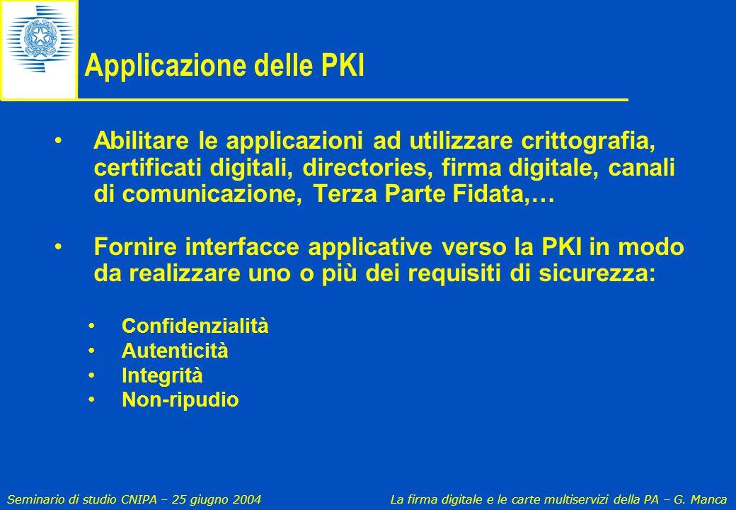 Seminario di studio CNIPA – 25 giugno 2004 La firma digitale e le carte multiservizi della PA – G. Manca Applicazione delle PKI Abilitare le applicazi