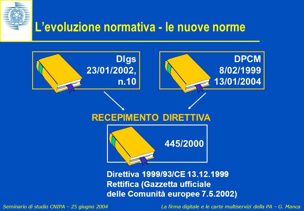 Seminario di studio CNIPA – 25 giugno 2004 La firma digitale e le carte multiservizi della PA – G. Manca Dlgs 23/01/2002, n.10 Direttiva 1999/93/CE 13