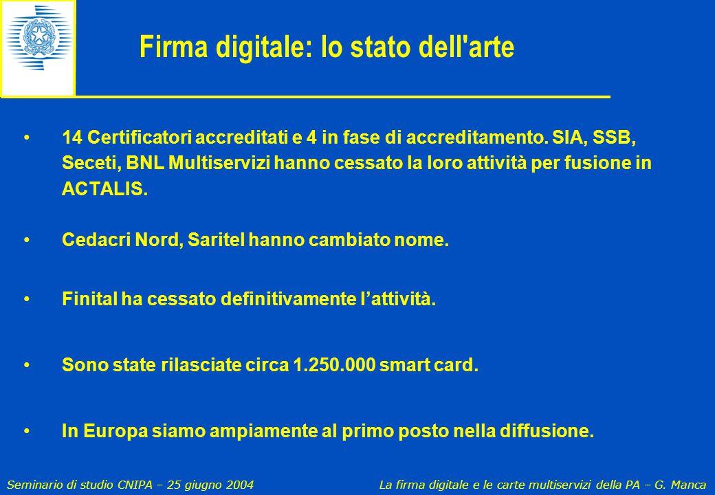 Seminario di studio CNIPA – 25 giugno 2004 La firma digitale e le carte multiservizi della PA – G. Manca Firma digitale: lo stato dell'arte 14 Certifi