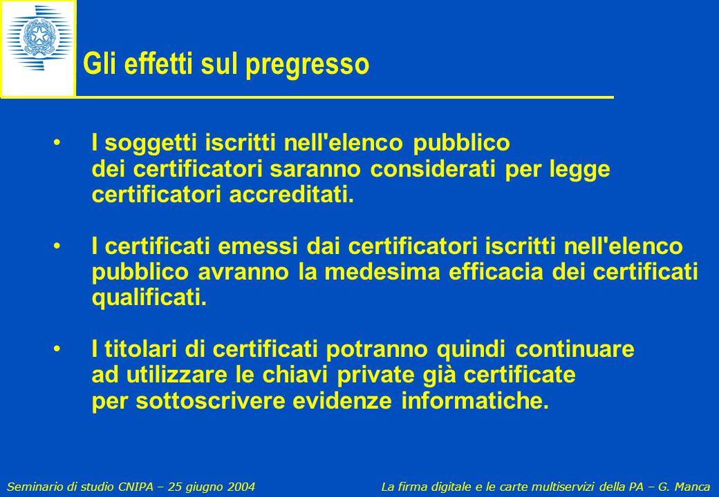 Seminario di studio CNIPA – 25 giugno 2004 La firma digitale e le carte multiservizi della PA – G. Manca Gli effetti sul pregresso I soggetti iscritti