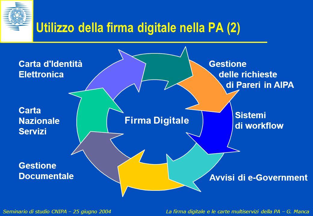 Seminario di studio CNIPA – 25 giugno 2004 La firma digitale e le carte multiservizi della PA – G. Manca Sistemi di workflow Gestione Documentale Util