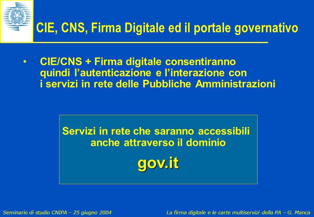 Seminario di studio CNIPA – 25 giugno 2004 La firma digitale e le carte multiservizi della PA – G. Manca CIE, CNS, Firma Digitale ed il portale govern