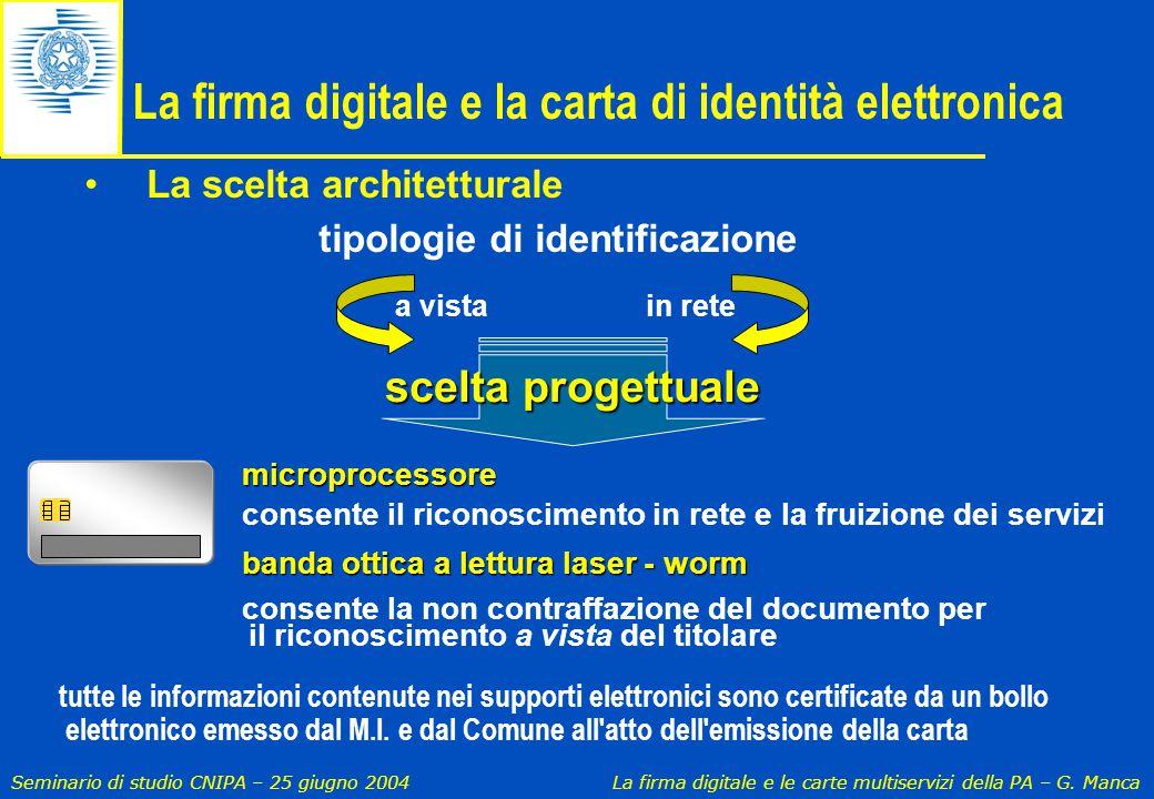 Seminario di studio CNIPA – 25 giugno 2004 La firma digitale e le carte multiservizi della PA – G. Manca a vistain rete scelta progettuale tutte le in
