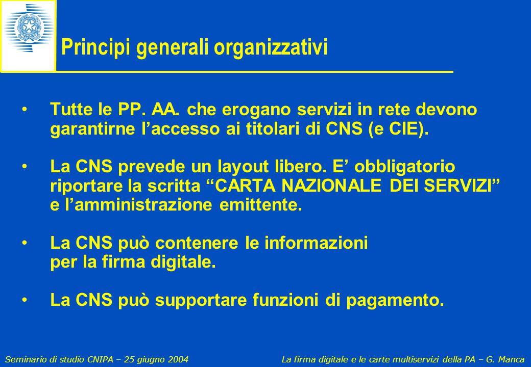 Seminario di studio CNIPA – 25 giugno 2004 La firma digitale e le carte multiservizi della PA – G. Manca Principi generali organizzativi Tutte le PP.
