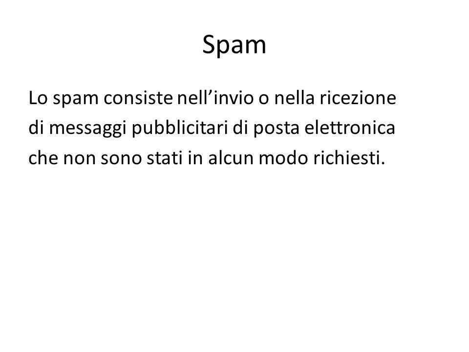 Spam Lo spam consiste nell'invio o nella ricezione di messaggi pubblicitari di posta elettronica che non sono stati in alcun modo richiesti.