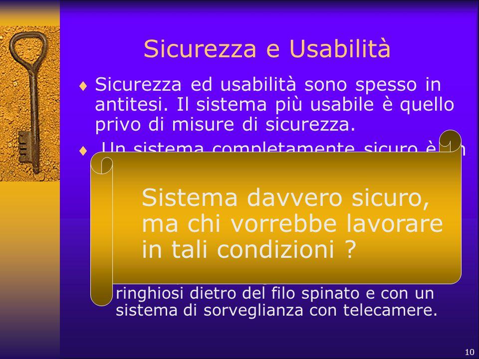 10 Sicurezza e Usabilità  Sicurezza ed usabilità sono spesso in antitesi. Il sistema più usabile è quello privo di misure di sicurezza.  Un sistema
