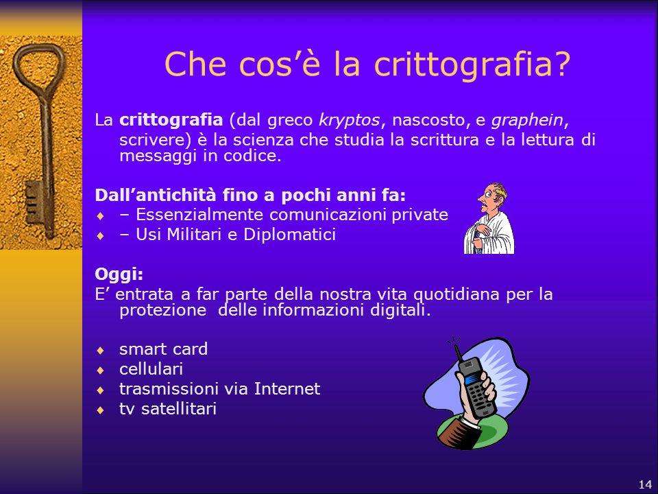 14 Che cos'è la crittografia? La crittografia (dal greco kryptos, nascosto, e graphein, scrivere) è la scienza che studia la scrittura e la lettura di