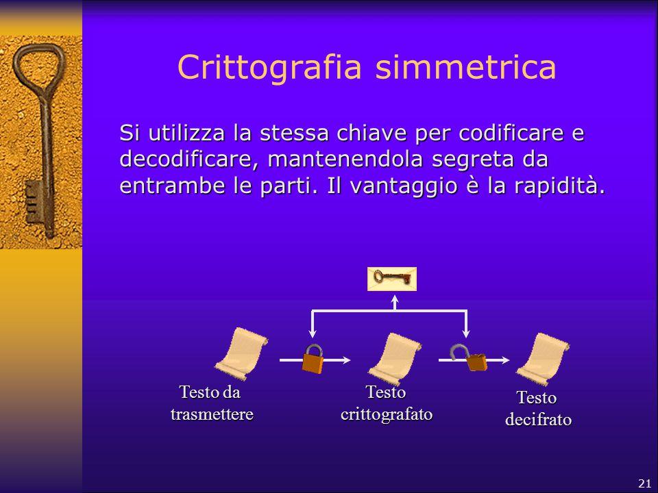 21 Crittografia simmetrica Si utilizza la stessa chiave per codificare e decodificare, mantenendola segreta da entrambe le parti. Il vantaggio è la ra