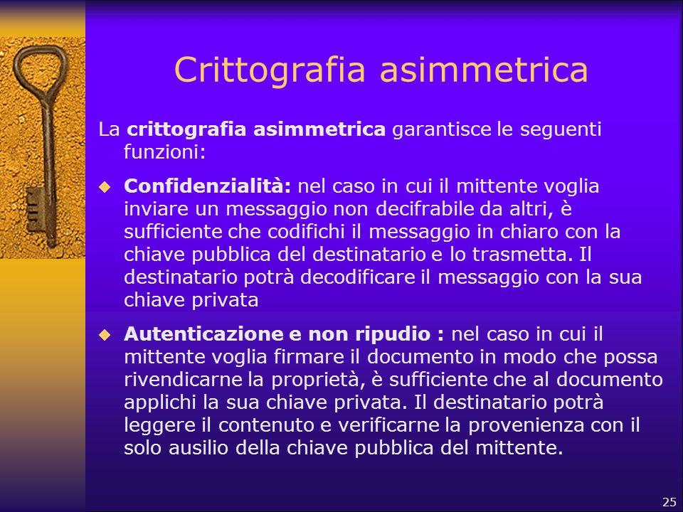 25 Crittografia asimmetrica La crittografia asimmetrica garantisce le seguenti funzioni:  Confidenzialità: nel caso in cui il mittente voglia inviare