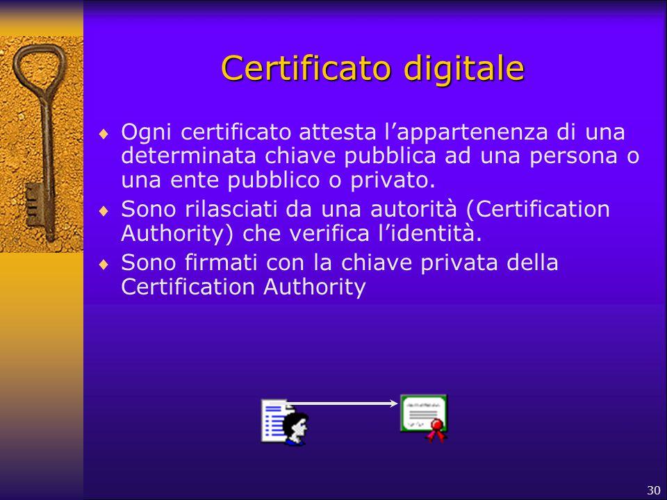 30 Certificato digitale  Ogni certificato attesta l'appartenenza di una determinata chiave pubblica ad una persona o una ente pubblico o privato.  S