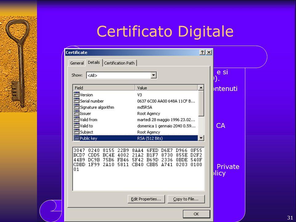 31 Certificato Digitale I certificati digitali hanno un formato comune e si basano sullo standard X.509v3 (RFC 2459). Lo standard X.509v3 definisce gl