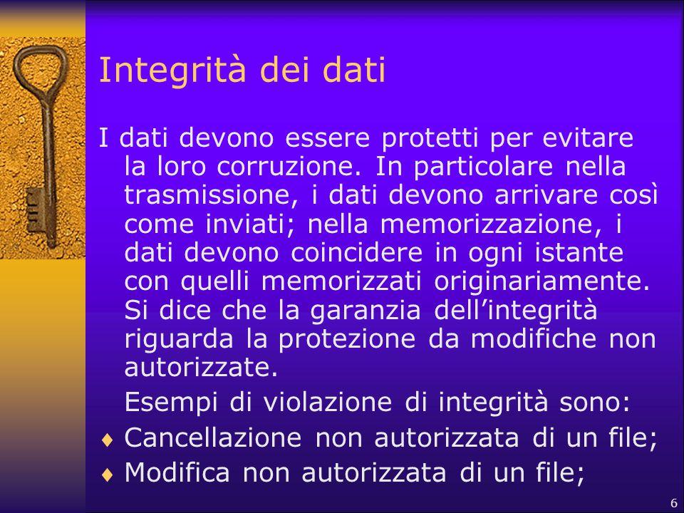 6 Integrità dei dati I dati devono essere protetti per evitare la loro corruzione. In particolare nella trasmissione, i dati devono arrivare così come
