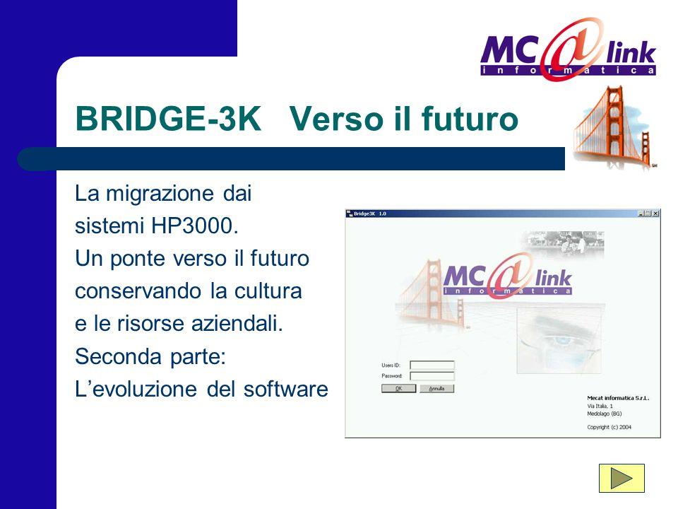 BRIDGE-3K Verso il futuro La migrazione dai sistemi HP3000. Un ponte verso il futuro conservando la cultura e le risorse aziendali. Seconda parte: L'e