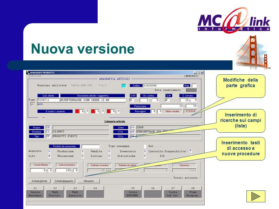 Nuova versione Modifiche della parte grafica Inserimento di ricerche sui campi (liste) Inserimento tasti di accesso a nuove procedure