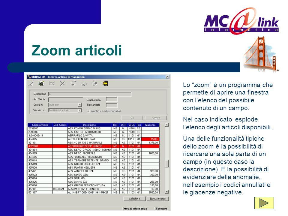 """Zoom articoli Lo """"zoom"""" è un programma che permette di aprire una finestra con l'elenco del possibile contenuto di un campo. Nel caso indicato esplode"""