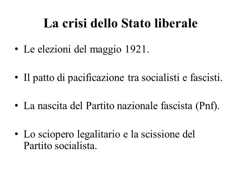 La crisi dello Stato liberale Le elezioni del maggio 1921. Il patto di pacificazione tra socialisti e fascisti. La nascita del Partito nazionale fasci