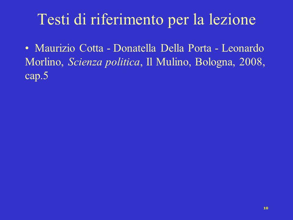 10 Testi di riferimento per la lezione Maurizio Cotta - Donatella Della Porta - Leonardo Morlino, Scienza politica, Il Mulino, Bologna, 2008, cap.5