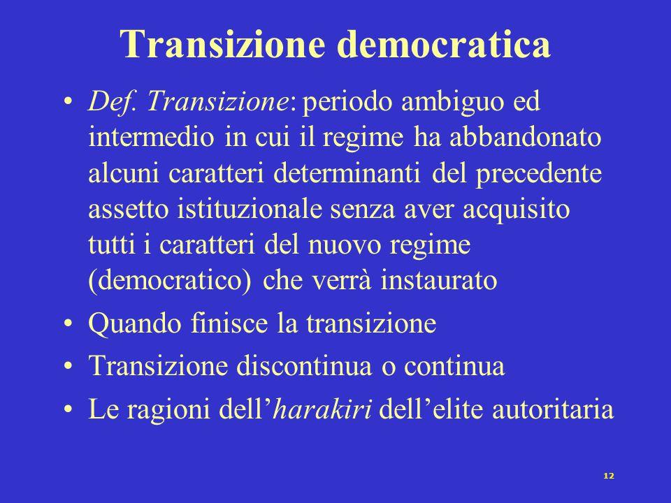 12 Transizione democratica Def. Transizione: periodo ambiguo ed intermedio in cui il regime ha abbandonato alcuni caratteri determinanti del precedent