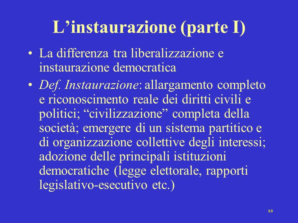 13 L'instaurazione (parte I) La differenza tra liberalizzazione e instaurazione democratica Def.
