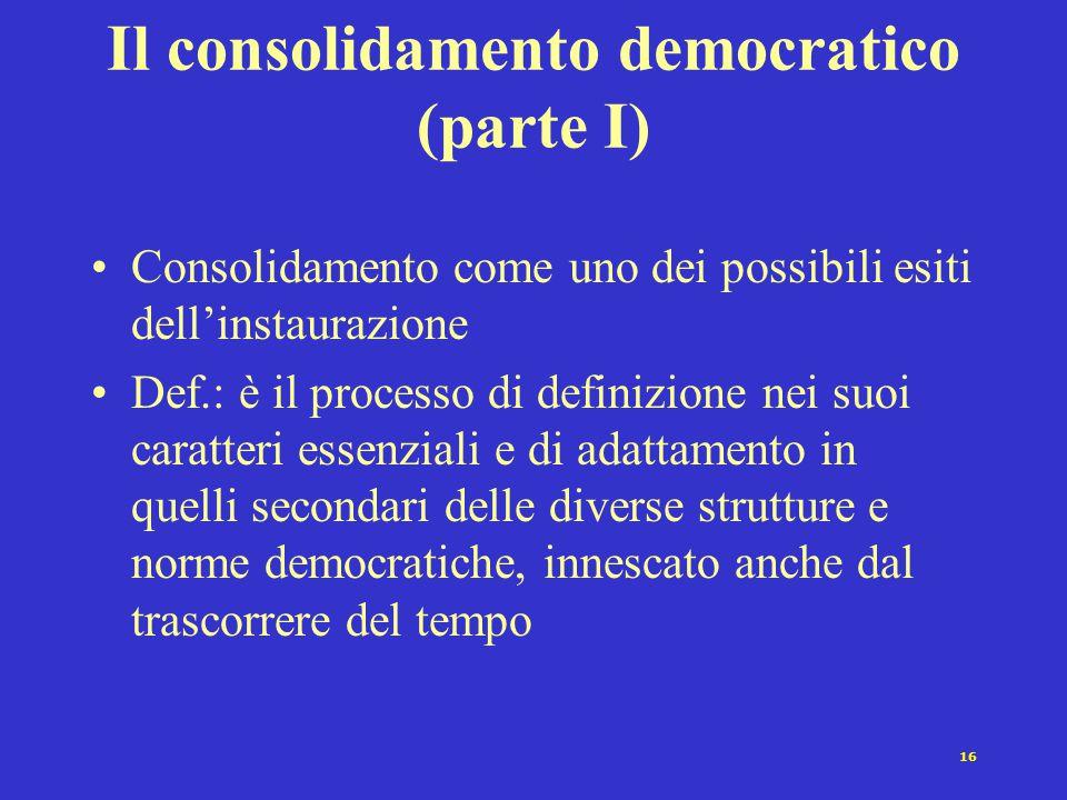 16 Il consolidamento democratico (parte I) Consolidamento come uno dei possibili esiti dell'instaurazione Def.: è il processo di definizione nei suoi caratteri essenziali e di adattamento in quelli secondari delle diverse strutture e norme democratiche, innescato anche dal trascorrere del tempo